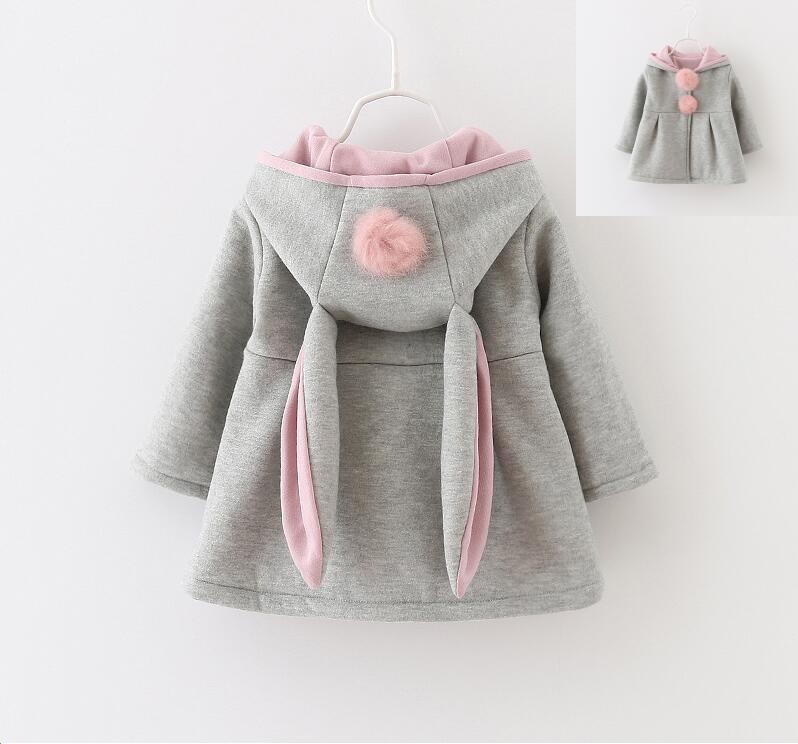 Забавное пальто с крольичими ушками на капюшоне для девочек новые весенние осенние детские куртки кролик воздуха Хлопковые детские пальто ...