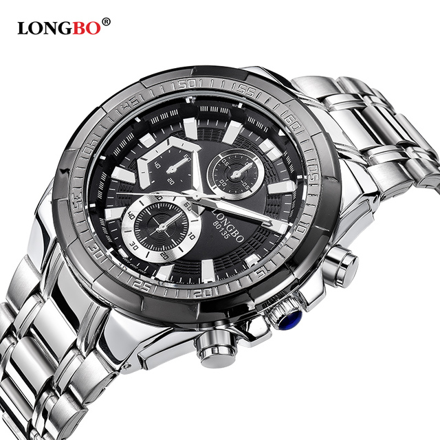 Longbo hombres de acero inoxidable banda militar deportes relojes de cuarzo dial reloj de los hombres macho ocio reloj relogio masculino 80135