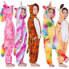 Flannel Kids Unicorn Pajamas For Boys Girls Anime Lion Cosplay Costume Winter Children Sleepwear Kigurumi Onesie Baby Pyjamas все цены