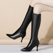 Sexy Pointy Toe Thin Heels Knee High Boots With Belt Buckle Size 38 39 Discount Hot Sale Fashion Female Footwear Elegant Shoes