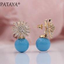 cc1e29ba4377 Pattaya nuevo 585 oro rosa de dos colores metal nieve Conchas perla  Pendientes de broche de cera natural del embutido ZIRCON muj.
