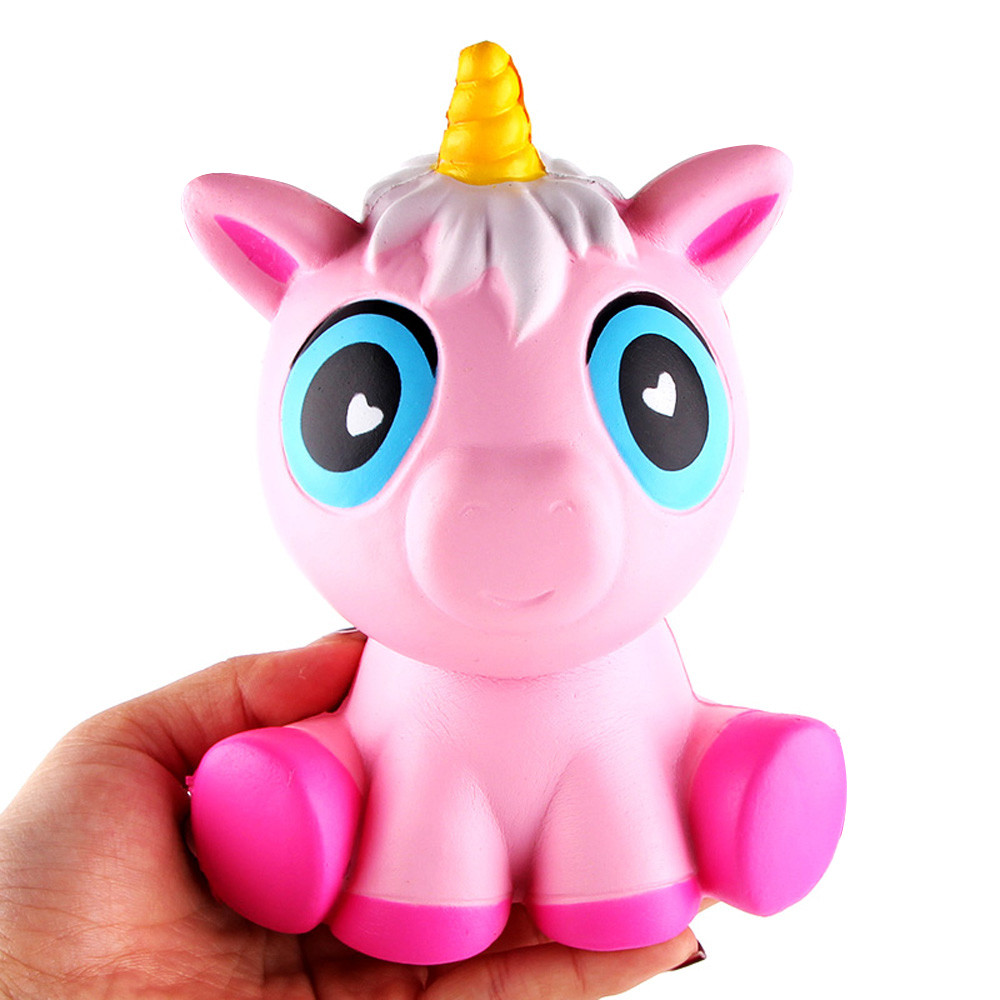 ISHOWTIENDA 14cm Lovely Pink Unicorn Cream Scented Squishy Christmas gifts Slow Rising Squeeze Toy For Kids Anti Stress toys