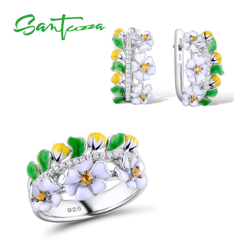 SANTUZZA Jewelry Set HANDMADE Colorful Enamel Flower Yellow CZ Stone Ring Earrings 925 Sterling Silver Women
