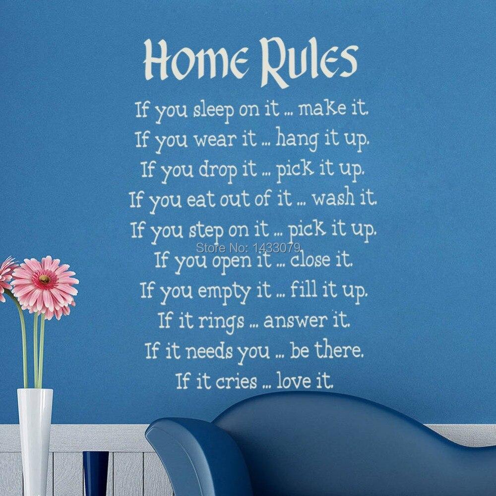 Hot HOME RULES Removable Shelf Art Characters Writing Vinyl PVC ...