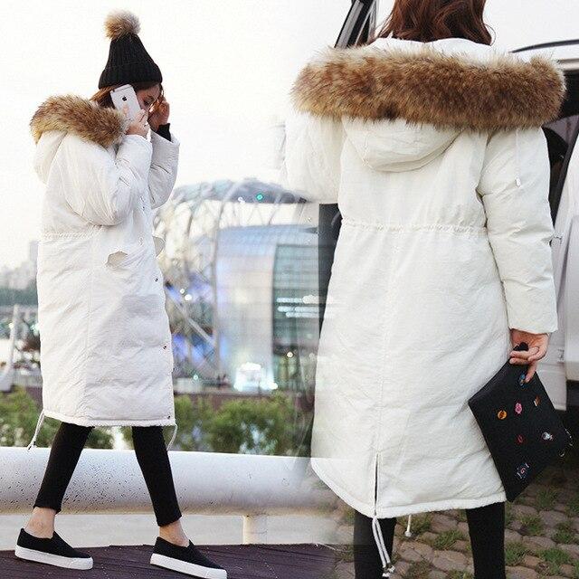 54fe1864cb7 Белый капюшон длинный пуховик зимняя куртка женская белая черная армейская  зеленая пуховая Куртка парка пуховое пальто