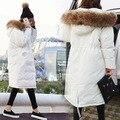 Branco Capuz Casaco Longo Para Baixo Mulheres Jaqueta de Inverno Preto Branco Verde do exército Para Baixo Casacos Parka Para Baixo Casacos Com Natural Real pele