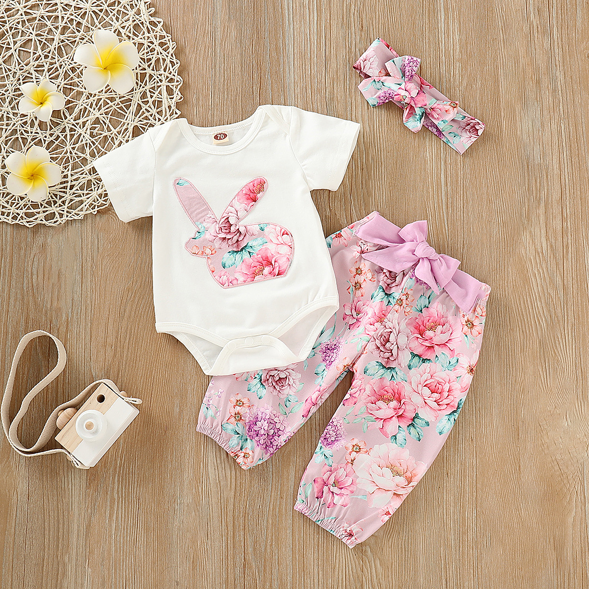 European and American Girls'Decorative Flower Printing Suit Summer Children's Romper Pants Hair Band  3 Pieces Suit