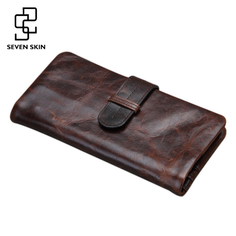 Original New Vintage Men Genuine Leather Men Organizer Wallet Money Purse Phone Card Holder Photo Coin Package Zipper Clutch Bag
