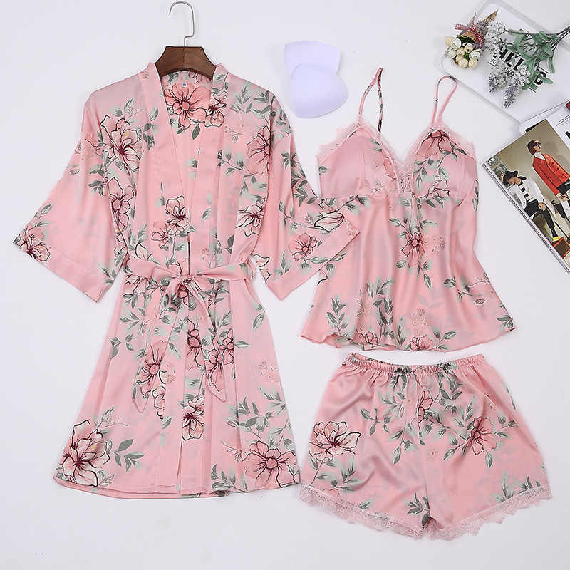 5fef4ee74e Satin Pajamas Set Printed Floral Big Size Bathrobe Women Nightwear Sexy  Lace Lingerie Sleepwear Robe Set