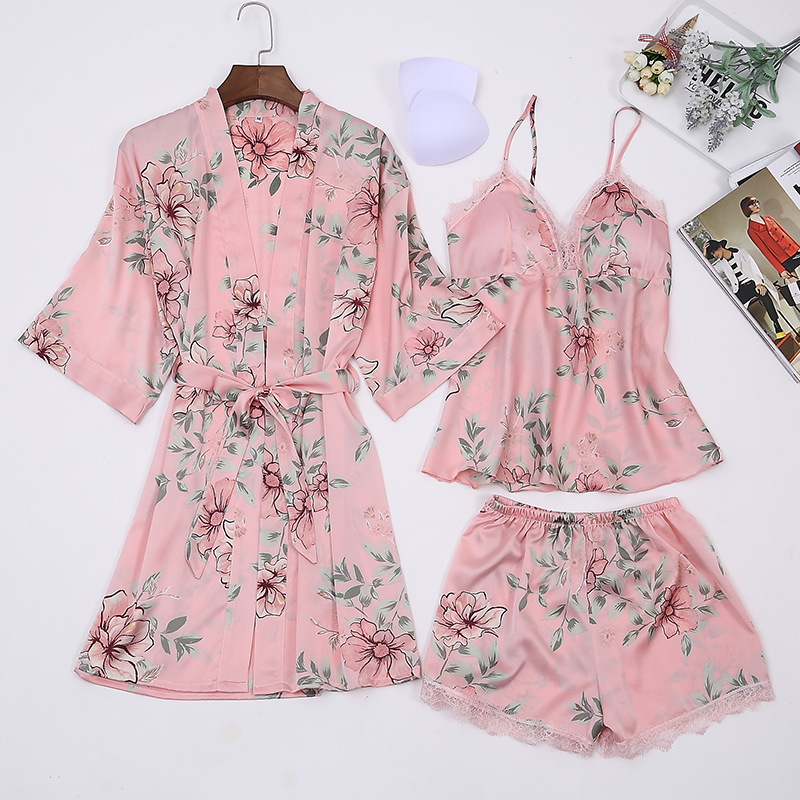 Satin   Pajamas     Set   Printed Floral Big Size Bathrobe Women Nightwear Sexy Lace Lingerie Sleepwear Robe   Set   long sleeve sleep wear