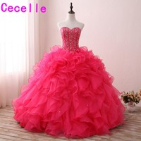 2019 Custom Made Peach Ball Gown Prom Dresses Long Sweetheart Beaded Crystals Ruffles Organza Teens Corset Princess Prom Gowns