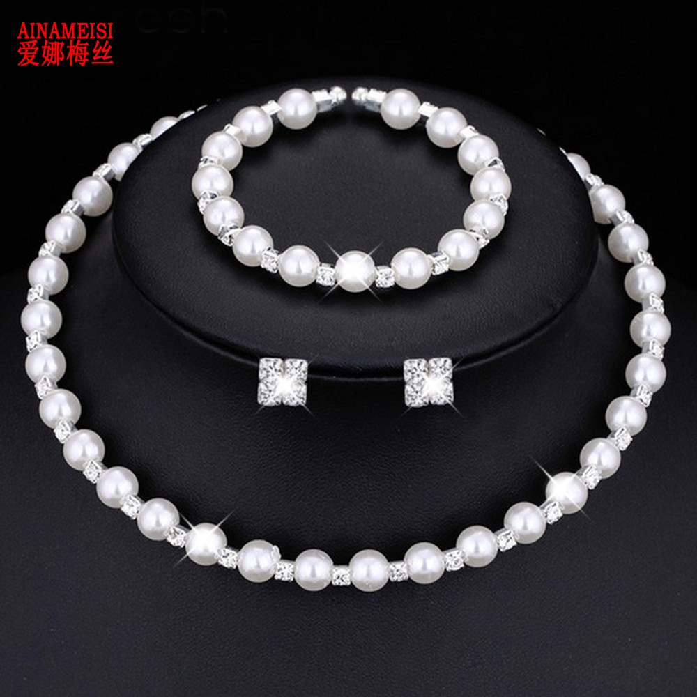 AINAMEISI Fashion Wedding Prom Bridal Pearl Jewelry Sets For Women Gift Silver Crystal Necklace Earrings Bracelet Jewelry set