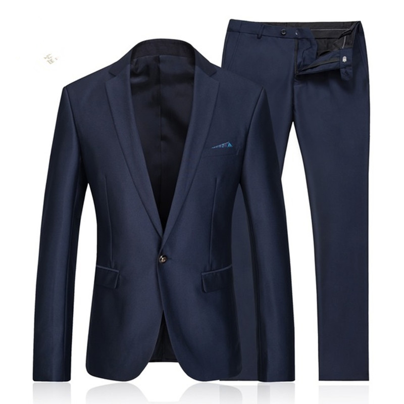 2016 Suits Men 3 Piece Jacket Pants Wool Blue Herringbone Retro Gentleman Style Custom