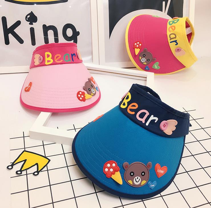 Cattoon Hat Children's Bear Empty Top  Hat Korean Casual Shade Sunscreen Beach Sun Cartoon Hat