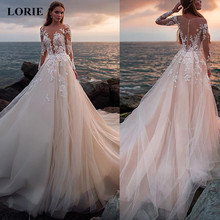 LORIE Lace Wedding Dresses 2019 Illusion Long Sleeve Long Tr
