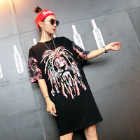 2018 Fashion Brand T Shirt Spring Summer The Lion King Sequined Long Loose Black Animal O