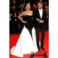 Elegant Blake Lively Red Carpet Celebrity Dresses Formal Black And White Stain Sweetheart Sweep Train Prom Dress Custom Made