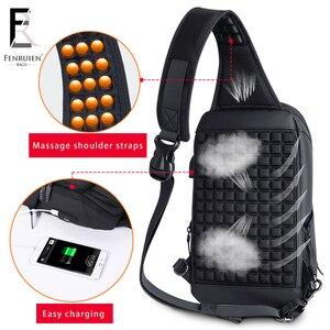 Image 3 - FRN 2019 USB Charging Chest Pack Men Casual Shoulder Crossbody Bag Chest Bag Water Repellent Travel Messenger Bag Male Sling Bag