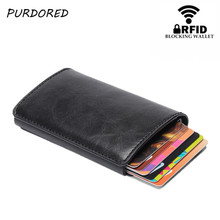 PURDORED 1 pc Men RFID Card Holder PU Leather Solid Color Business Cards Case Men Mini Wallet Credit Cards Case Bank Card Box