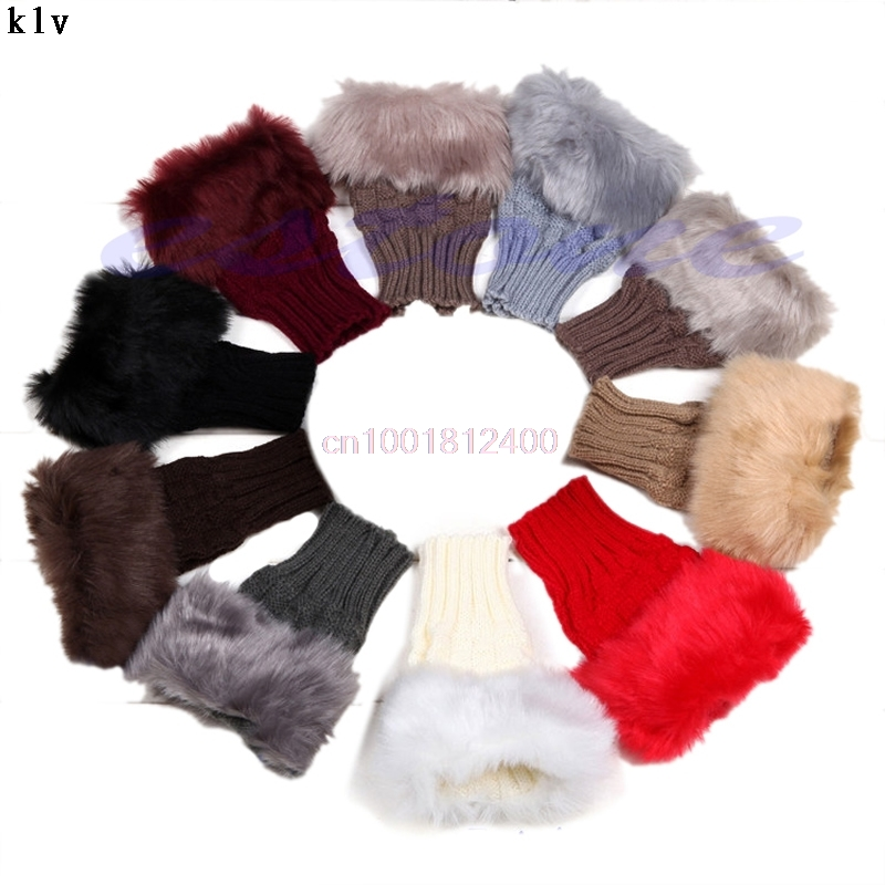 Fashion Gloves Girl Ladies Fingerless Fur Winter Warm Wrist Knitted Wool Mitten Gloves 9 Color