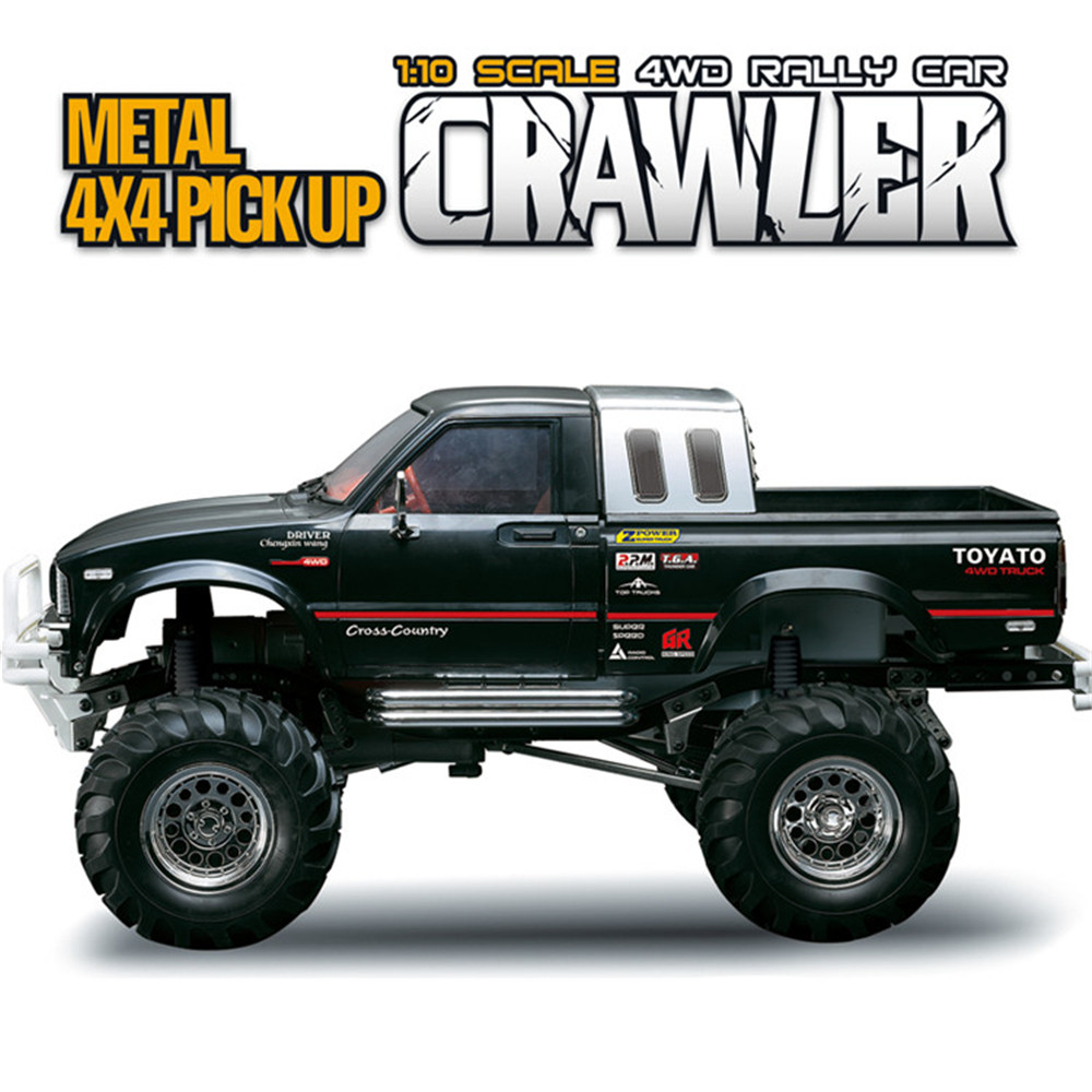 HG P407 1/10 2.4G 4WD 3CH Brushed Rally Rc Car TOYATO Metal 4X 4 Pickup Truck Rock Crawler RTR Toy Black White Gifts Boys Kids willys jeep 1 10