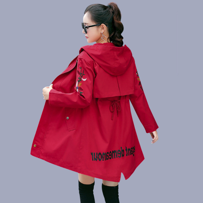 Spring Autumn Women   Trench   Coat 2018 Fashion Hooded Windbreaker Female Casual Overcoat Long sleeve Lady Coat Women Clothing A806