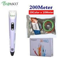 3D Pen Bapasco 2nd Generation RP 100B LED Display DIY 3D Printer Pen Add 200M 20Color