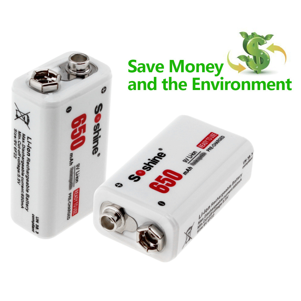 2pcs Soshine 650mAh 9V 6F22 Rechargeable Battery Smart Intelligent Ni MH Li ion Battery Charger with LED Indicator in Rechargeable Batteries from Consumer Electronics