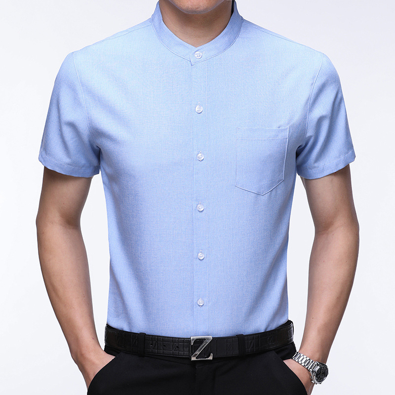 Summer Mandarin Collar Shirt For Men Short Sleeve Camisa Masculina Pure Color Casual Mens Dress Shirts Brand Silm Chemise Homme in Casual Shirts from Men 39 s Clothing