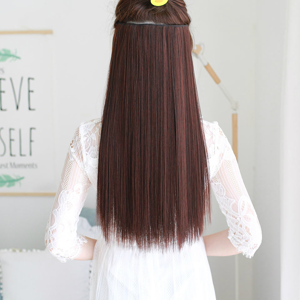 DIFEI Long Straight 5 Clips in Hair Extensions Fake  Synthetic High Tempreture Fiber Hair Extensions  halo hair extensions 2