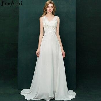 8eec9cd77f JaneVini Branco Sexy Chiffon Mãe dos Vestidos de Noiva UMA Linha Vestido de  Noite Apliques de Lantejoulas Árabe Elegante Longo Vestidos de Festa