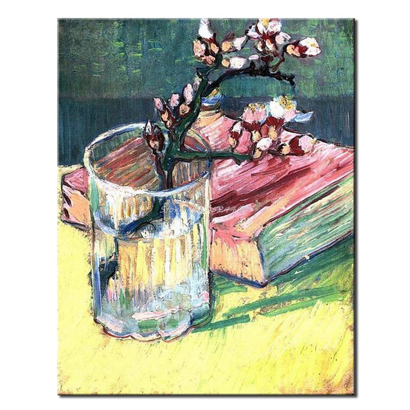 For Sale Handpainted Abstract Flower Oil Paintings on Canvas Home Decor Wall Painting Art Large Cup Flower & Book Floral Picture
