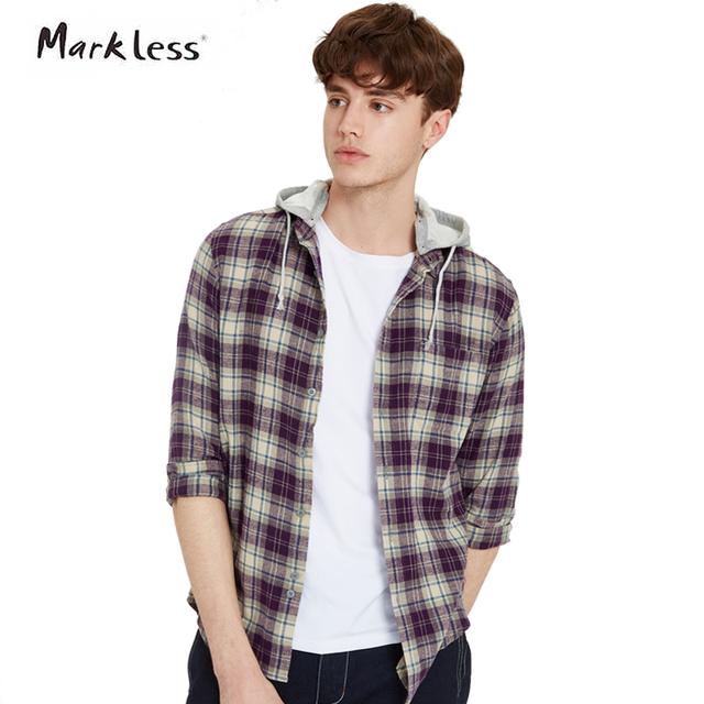 Markless nuevo resorte de la manera ocasional de los hombres camisas de algodón de manga larga con capucha se puede quitar a cuadros patrón de la camisa de los hombres cs11533m