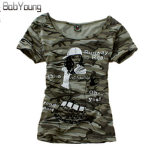 BabYoung Summer Tops Women T-Shirt Girl Pattern Tshirt Femme Camouflage Camiseta Feminina Stretch T Shirts Mujer Plus Size