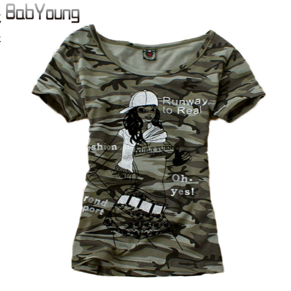 BabYoung Summer Tops Әйелдер футболка Girl Pattern Tshirt Femme Камуфляж Camiseta Feminina Stretch T Shirts Mujer Plus Size