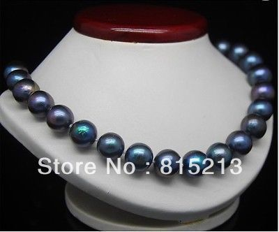 Ddh00622 naturel énorme 11 - 12 mm noir collier de perles 18