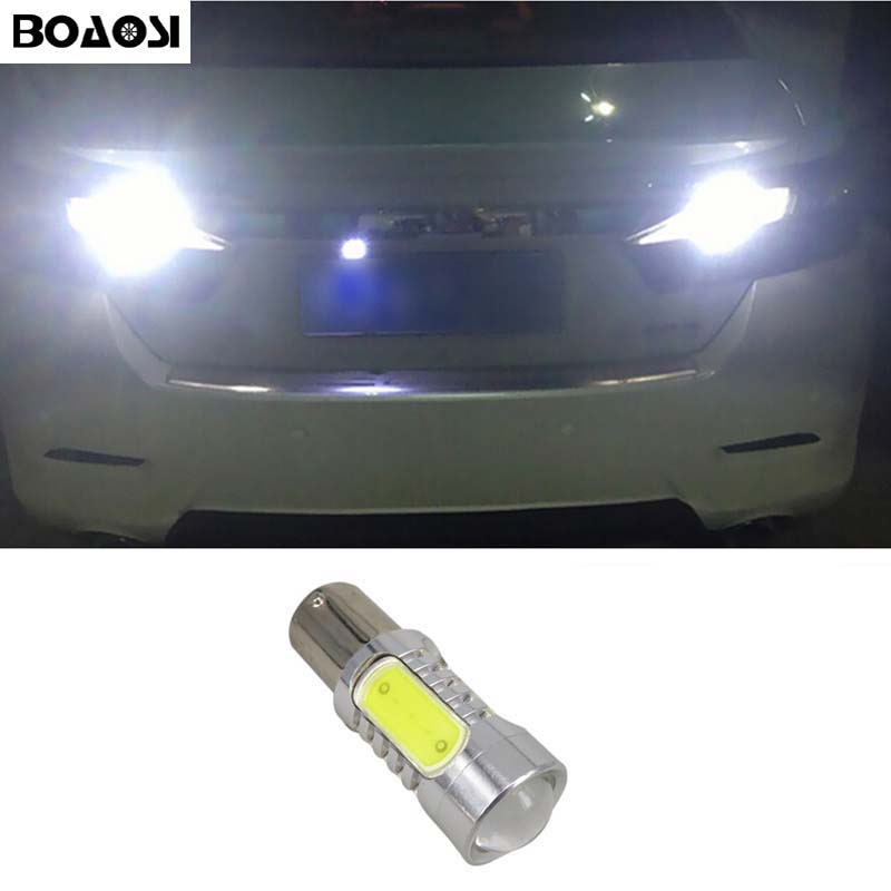 BOAOSI 1x Canbus 1156 LED Reverse Light P21W 7.5W Car LED Error Free Backup Light Reverse Light Bulb For Toyota yaris 2008-2013 ruiandsion 2x75w 900lm 15smd xbd chips red error free 1156 ba15s p21w led backup revers light canbus 12 24vdc