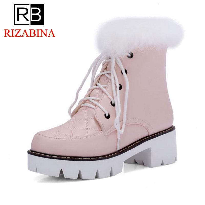 RizaBina Size 33-43 Women High Heel Boots Half Short Snow Boots Thick Fur Shoes In Cold Winter Botas Warm Boots Women Footwear size 33 43 women real natrual genuine leather snow high heel ankle boots half short botas winter boot warm footwear shoes r7401