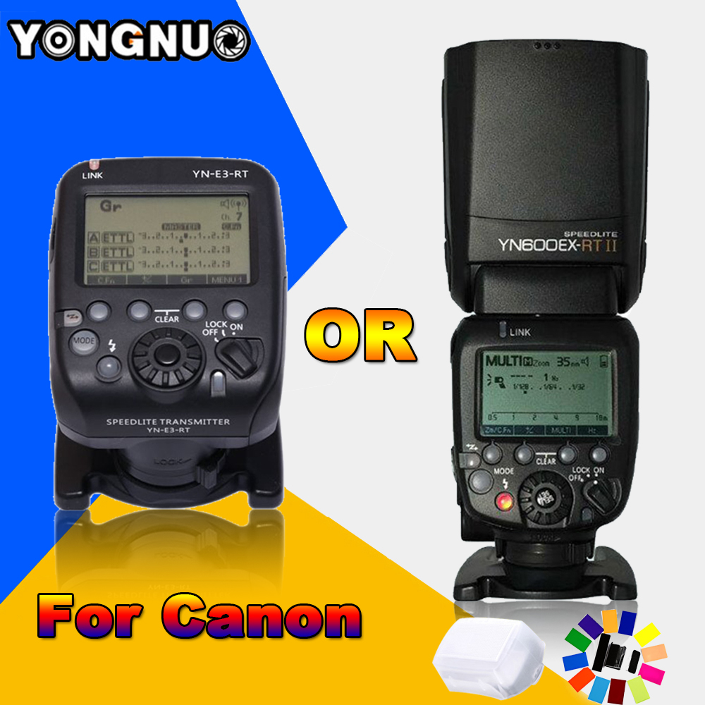 YONGNUO YN600EX-RT II 2.4G Wireless HSS 1/8000s Master TTL Flash Speedlite OR YN-E3-RT Controller for Canon 5D3 5D2 7D 6D 70D yongnuo 3x yn 600ex rt ii 2 4g wireless hss 1 8000s master flash speedlite yn e3 rt flash trigger for canon eos camera 5d 6d