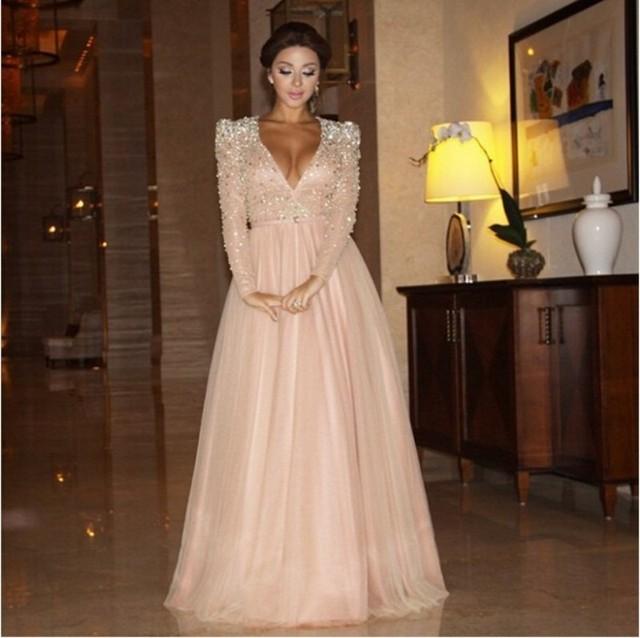 Sequin top chiffon dress long