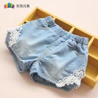 2017 חדש קיץ הילדה ילדי ג 'ינס ישר מכנסיים קצרים מכנסיים קצרים לילדים בנות המותניים אלסטית בגדי ילדה ילדי מכנסי ג' ינס תחרה