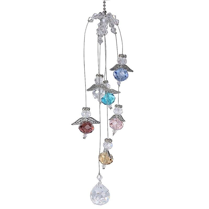 H&D Hanging Crystal Guardian Angel Window Sun Catcher Rainbow Maker 20mm Ball Prism Pendant Home Wedding Decor Accessories