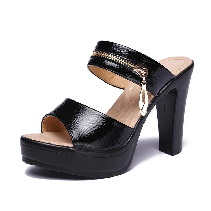 GKTINOO açık ağızlı deri Platform ayakkabılar kadın yazlık terlik 2020 yüksek topuklu slaytlar bayanlar ofis terlik artı boyutu 35-43