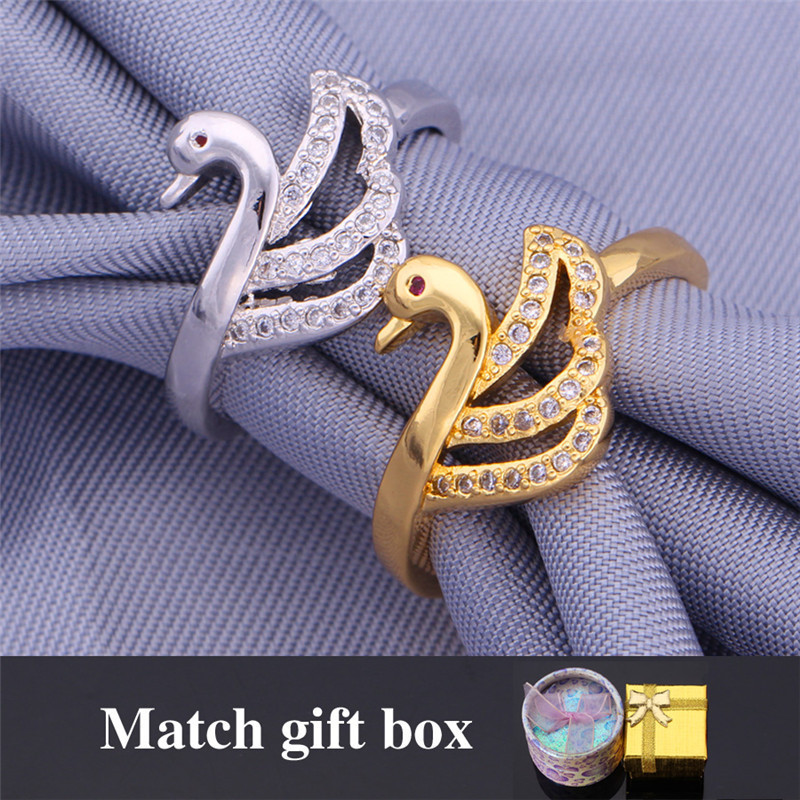 new trendy fashion ring cute mandarin duck gold color aaa cubic zirconia wedding ring for women