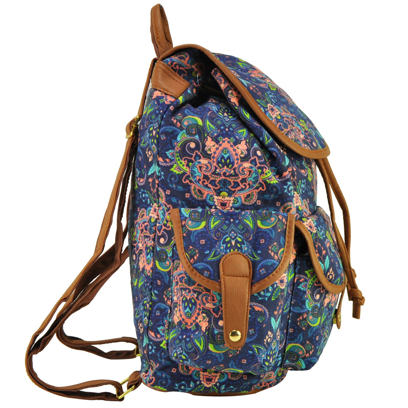 ZIWI Brand New Arrival Ladies Anna Smith Retro Canvas Backpack Rucksack Girls School Knapsack QQ1626-1
