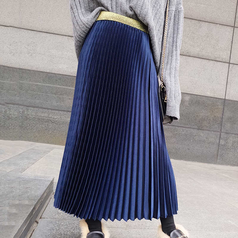 b95555db6 ... Spring Fashion Pleated Skirts Womens 2019 Elastic High Waist Skirt  Black White Long Skirt Ladies Vintage ...