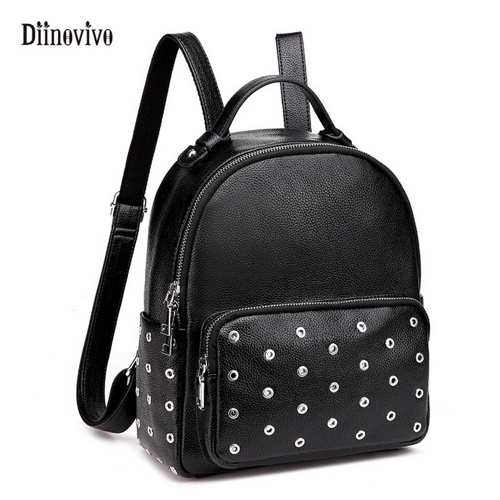 DIINOVIVO Women s Preppy Style Backpack Waterproof PU Leather Rivet School Backpacks Large Capacity Knapsack Bagpack