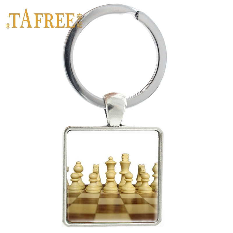 TAFREE fashion chess Keychain QUIET PLEASE CHESS PLAYER AT WORK Keyring Accessories for Men car keyring Jewelry CH01 image