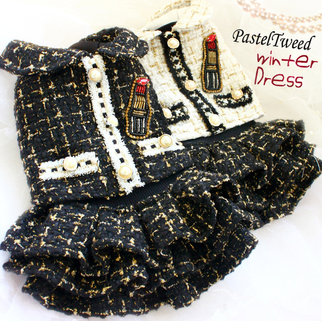 Free shipping handmade luxurious dog clothes time consuming C style thickened gold thread tweed jacket+ knit dress pet winter