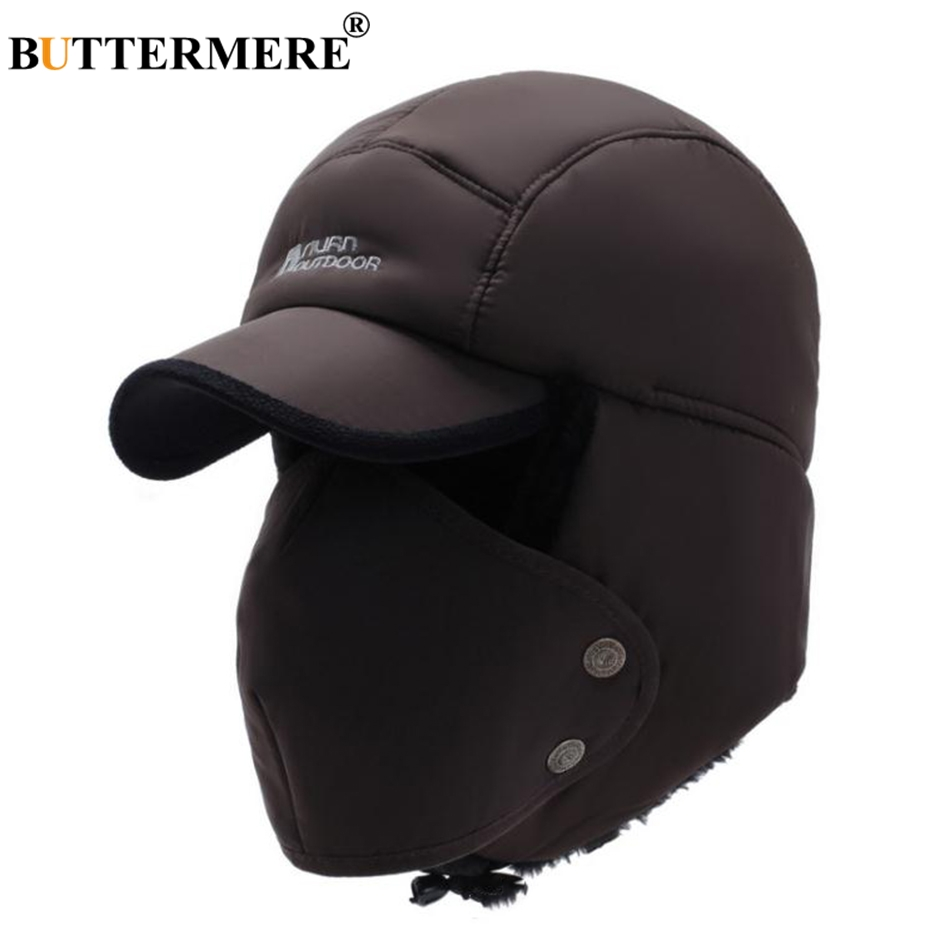 BUTTERMERE Men'S Winter Hats Russian Bomber Coffee Cotton Earflap Caps Male Mask Detachable Baseball Cap Fur Warm Ushanka Hat